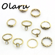 Olaru Jewelry 2017 New Hot 10Pcs/Set Fashion Geometric Stone Flower Triangle Crystal Cute Finger Ring Woman wholesale Price SALE