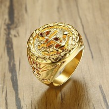 Vnox Gold Color Cool Casting Chunky Anchor Eagle Ring For Men Bulky Band Stainless Steel Fraternal Rings Punk Male Jewelry(China)