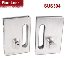 Rarelock Christmas Supplies Glass Sliding Door Latch Lock SUS304 for Women Dress Bag Store Door Office DIY i(China)