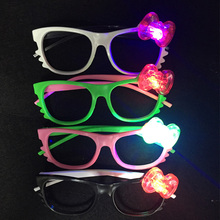 24pcs/lot Glow flashing glasses toy fashion plastic LED kitty glasses wedding xmas party supplies mask light up cute glasses(China)