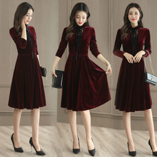 Buy Sexy Women Winter Velvet Dress 2017 Big Swing Long Sleeve 3 color Tunic Elegant Women Clothing Casual Retro Vintage Party Dress for $45.84 in AliExpress store