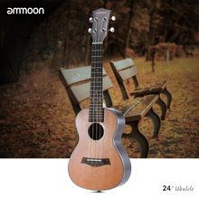 "ammoon 24"" Concert Ukulele Korean Pine Acoustic Ukelele Wooden 18 Frets 4 Strings Guitar Okoume Neck Rosewood Fretboard(China)"