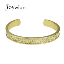 Punk Rock Full Rhinestone Individual Gold-Color Bangles Open Cuff Bracelet Bangles for Women