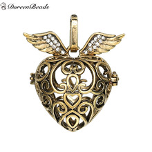 DoreenBeads Vintage Valentine's Day Copper Wish Box Pendants Antique Gold Wing Can Open (Fit Bead Size: 16mm) 37mm x 32mm, 1 PC