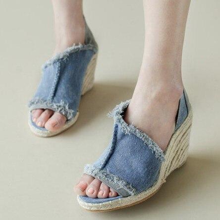 Womens shoes 2015 spring and summer fashion tassel denim straw braid open toe wedges sandals<br><br>Aliexpress