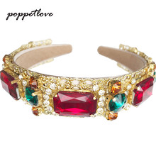 2017 Fashion European Vintage Baroque Headband Full Colorful Crystal Rhinestone Hairbands Gold Leaves Crown Pearl Hair Jewelry(China)