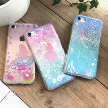 3D Shockproof Soft TPU Phone Case for iPhone 7 6 Transparent Cartoon Alice Mermaid Girl Phone Cases Cover for Iphone 7 6s Plus