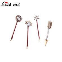 KISS ME 4 PCS/SET Alloy Barrettes 2016 New Charming Women Accessories New Brand Hair Jewelry(China)