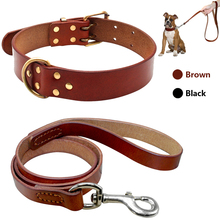 Real Leather Pet Dog Collar Leash Set For Medium Large Dog Breed Genuine Leather Collar For Pitbull Boxer Bulldog S M L(China)