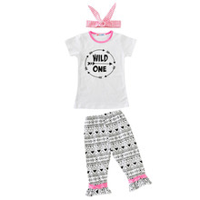 2017 kids Summer clothes baby clothing sets Newborn Baby Girl Short Sleeves Wild One Tops+ Ruffled Pant+Headband 3pcs Outfit Set