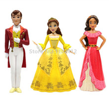 Princess Sofia The First Figure Play Set of 3 Elena Of Avalor King Queen Miranda Figures Toy Plastic Dolls for Girls Toys Gifts