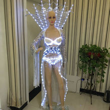 Glowing light up led suit for party supplier robot for girl women LED clothing wireless control dance bar