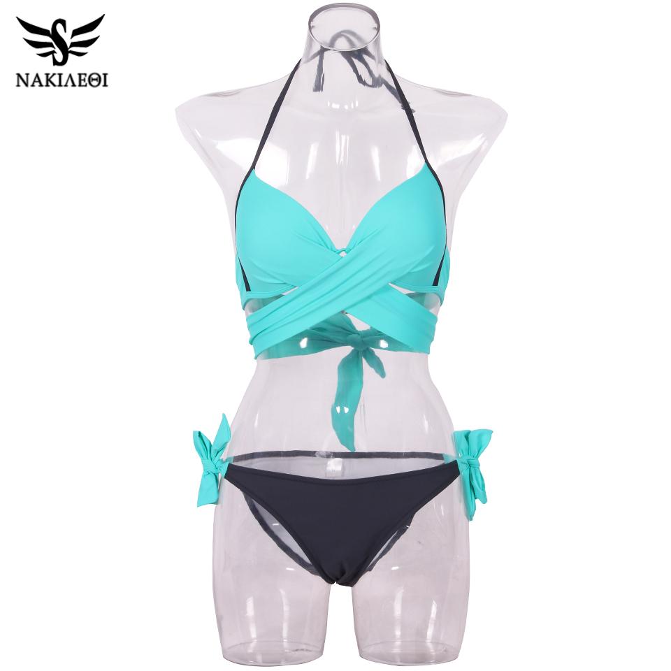 NAKIAEOI 19 Sexy Bikini Women Swimsuit Push Up Swimwear Criss Cross Bandage Halter Bikini Set Beach Bathing Suit Swim Wear XXL 63