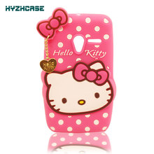 Soft Silicon Case For Alcatel PIXI3 40-4013K Phone Bag 3D Cartoon Heart Pendant Hello Kitty Shape Phone Back Cover(China)