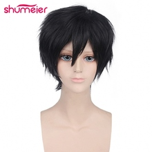 Shumeier 5colors Black Gray Short Straight Man Synthetic Hair Cosplay Wigs High Temperature Fiber