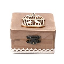 Vintage Birdcage Wooden Wedding Ring Jewelry Trinket Box Storage Container Case W30(China)