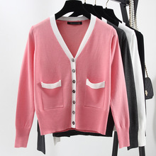 2017 Autumn women's classic style sweater V-NECK Solid color full sleeve sweater ladies' Cardigan sweater knitwear