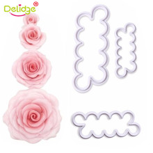 Delidge 3pcs/set Rose Flower Cookie Cutter Fondant Cake Decorating Tools Sugarcraft Biscuit Cutter for Kitchen Baking Tool(China)