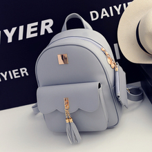 New Fashion Women Backpack Pu Shoulder Bags Preppy Fashion Casual Style Lady Black Schoolbags Pure Color Packbag Girls Bolsa(China)