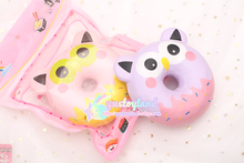 Jumbo Original Squishy Slow Rising Kawaii 11cm Owl Donut Soft Squeeze Cute Cell Phone Strap Bread Cake Stretchy Toy Gift Pendant