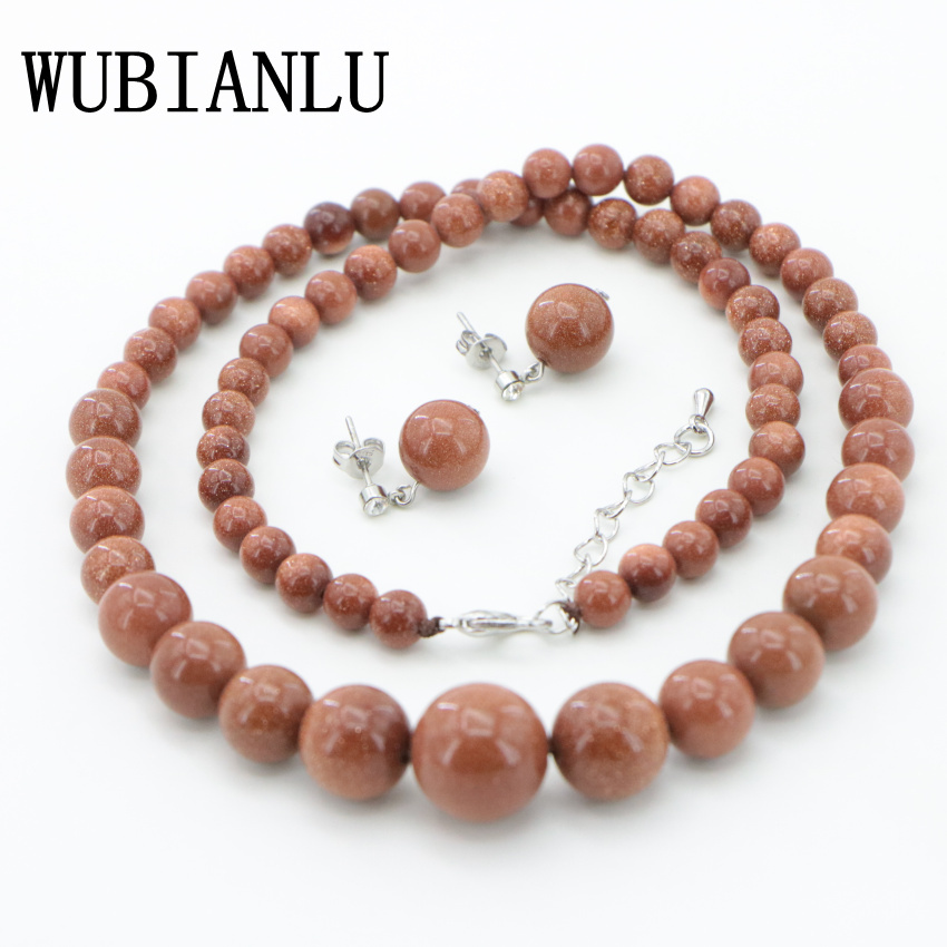 1 Natural Stone gold Sand Beads Necklace Earring ear nail Fashion DIY Jasper Chalcedony (22)