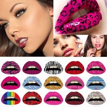 HOT Factory Price 3 Pcs/lot 3D Art Lips Sticker Tattoos Glitter Pink Sexy Pattern Makeup Tattoo Lip Stickers Makeup Tools(China)