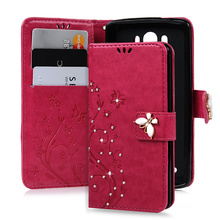 "3D Handmade Bling Crystal Cover For LG G3 D858 D855 D857 D856 5.5"" Diamond Butterfly Wallet Case Floral PU Leather With Strap"