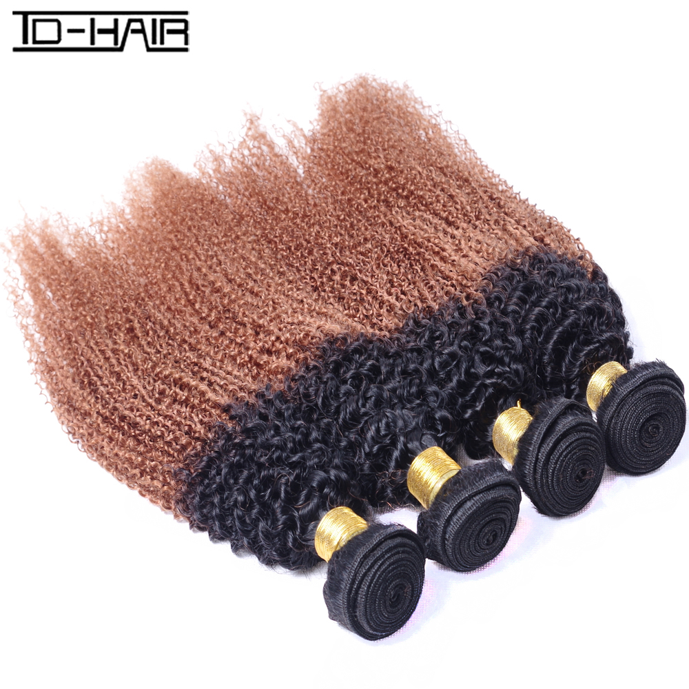 4 pics 8A Indian hair kinky curly wave T1b/30# remy hair Bundles 100% unprocessed Indian virgin hair kinky curly TD Hair weaves<br><br>Aliexpress