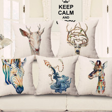 KYYZROZZZ Animal watercolor marine life deer zebra giraffe pillow case home textile cotton linen square cushion cover for sofa
