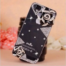 New women For IPHONE 5 5G Camellia Flowers Luxury Crystal Diamond 3D Bling Cell Mobile Phone Bag Cases phone cases