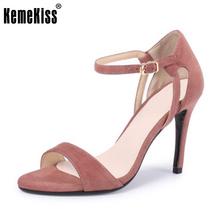 KemeKiss Size 34-43 Office Lady Real Leather High Heel Sandals Ankel Strap Summer Shoes Sexy Club Party Sandal Female Footwear