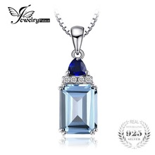JewelryPalace 1.5ct Emerald Cut Genuine Sky Blue Topaz Created Sapphire Pendant 925 Sterling Silver Jewelry Not Include A Chain(China)