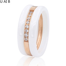 Beauty Of Spring Fashion Cubic Zirconia Stone Ring titanium Ceramic Rings For Women Female Big Wide Luxury Rings(China)