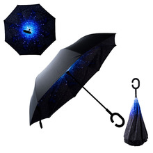 Double Layer Reverse Inverted Umbrella  C Shaped Blue Starry Sky Umbrella Can Stand