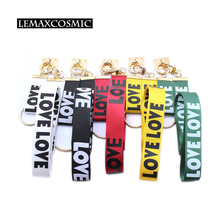 LEMAXCOSMIC Mobile Phone Decorations Accessories Paste Type Phone Strap LOVE Word Anti-Drop Hang Neck Rope Phone Lanyard Strap(China)