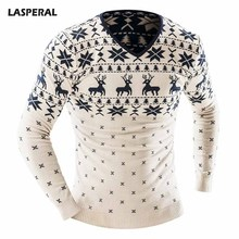 LASPERAL 2017 Christmas Style Winter Pullover Sweater Men Deer Printed Long Sleeve Sweaters Male Casual Slim Fit Thick Sweaters(China)