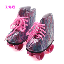 White Sport Roller Skates Boots For 18 inch American Girl Doll Roller Skating Shoes Fit For Any 18 Inch Dolls Boots mini Shoes