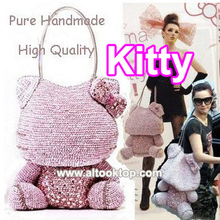 2016 Pure handmade sac Hello Kitty handbag L large seeker bag lady crystal star valentine bag hellokitty japan style big bag