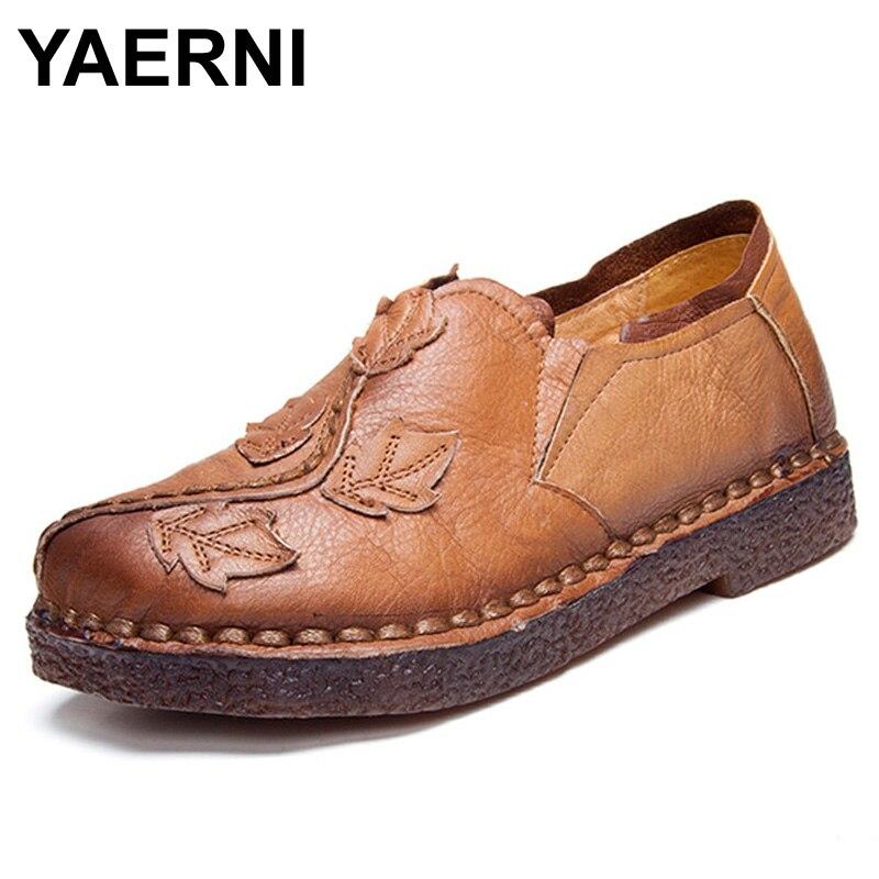 YAERNI Retro Autumn Shoe Women Fashion Handmade Leave Comfortable Women Folk Flat Shoe Femme Genuine Leather Soft Driving Shoes<br>