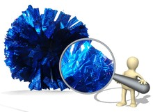 2 Of Metallic Foil & Plastic Ring Pom Poms Cheerleading Poms  Has a different Obscure