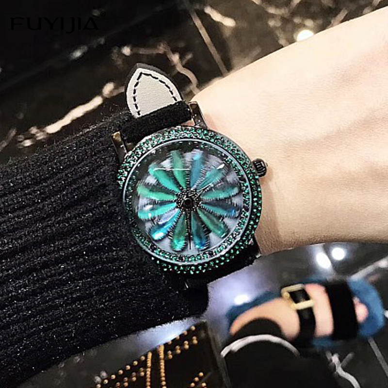 FUYIJIA Watches Women New Quartz Watch Green Diamond Luxury Dress Watch Ladies Leather Bracelet Watch Lady Waterproof Rotate<br>