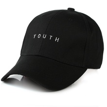youth letter embroidered caps lover men women baseball cap pure color snapback hat black white sunhat,gorras hombre muje(China)