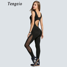 Tengeio Mesh Bodysuit Women Catsuit Fitness Sexy Jumpsuit Backless Black Overall Hollow Leotard Playsuits Sporting Body Suit 610