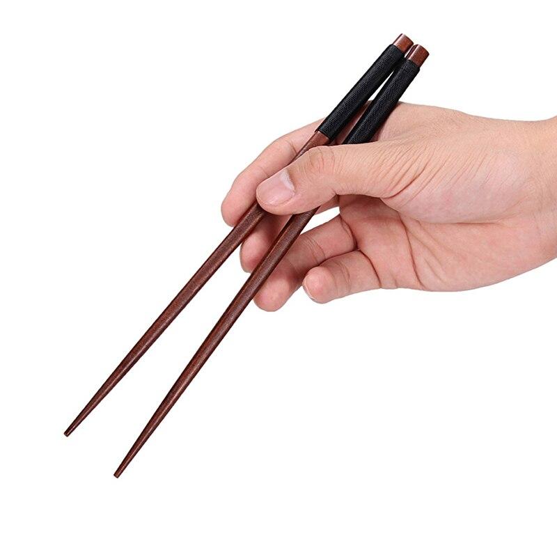 2 Pairs Reusable Wood Chopsticks Korea Japanese Sushi Chopsticks Wood Chinese Sticks for Food Tableware Wooden Kitchen Utensils (9)