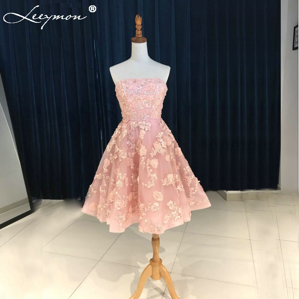 Lovely Pink Short Cocktail Dresses 2018 Handmade 3D Lace Appliques Beaded Party Dress A-line Strapless Prom Gowns WDZ-102