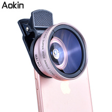 Aokin Camera Lens Kit 0.45X Super Wide Angle Lens with 12.5X Macro Lens, Clip Cell Phone Lens for iPhone Xiaomi  Samsung Phones