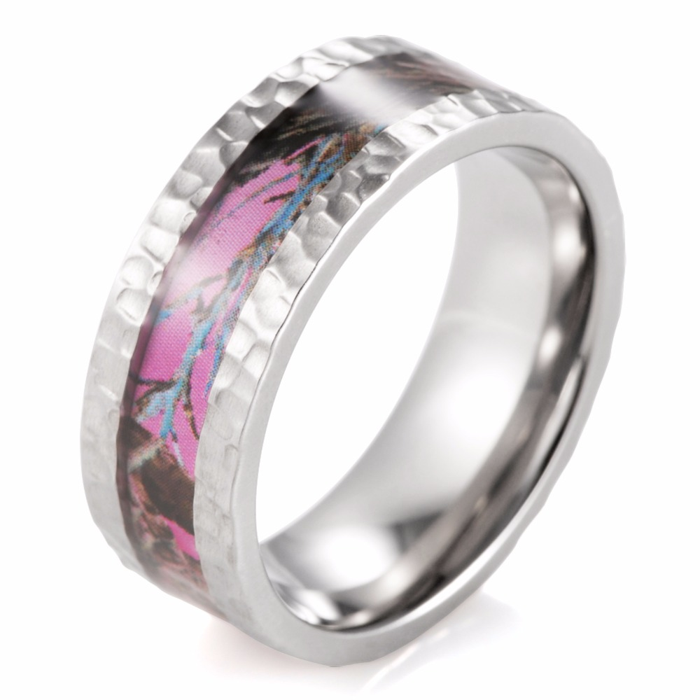 shardon hammered titanium pink camo wedding ring outdoor wedding band ring with hammered finish ring for - Pink Camo Wedding Rings For Her