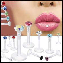 Lot of 14pcs Bioplast Flexible Labret Stud Lip Piercing Ring 16g Ear Cartilage Tragus Helix Piercing Fashion Girls Jewelry(China)