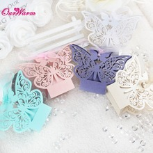 100pcs Hollow Candy Box Wedding Gift Decoration 5*5*8cm Butterfly Wedding Favors and Gifts Box for Guests Event Party Supplies