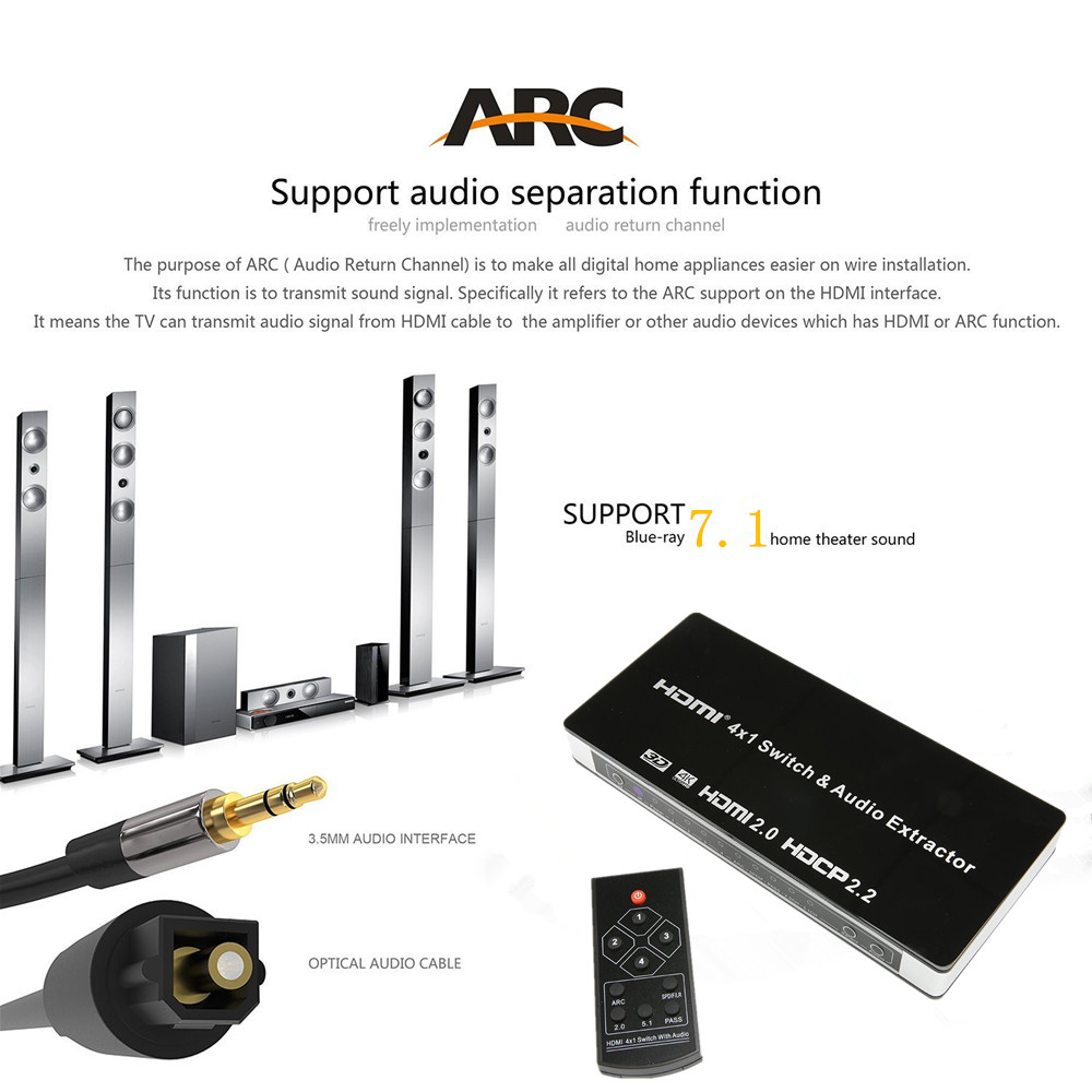 4 In 1 Out 4K HDMI 2.0 Switcher HUB Box Support HDCP 2.2, ARC & IR Control 4×1 HDMI Port Switch Audio Extractor XBOX PS4 HDTV